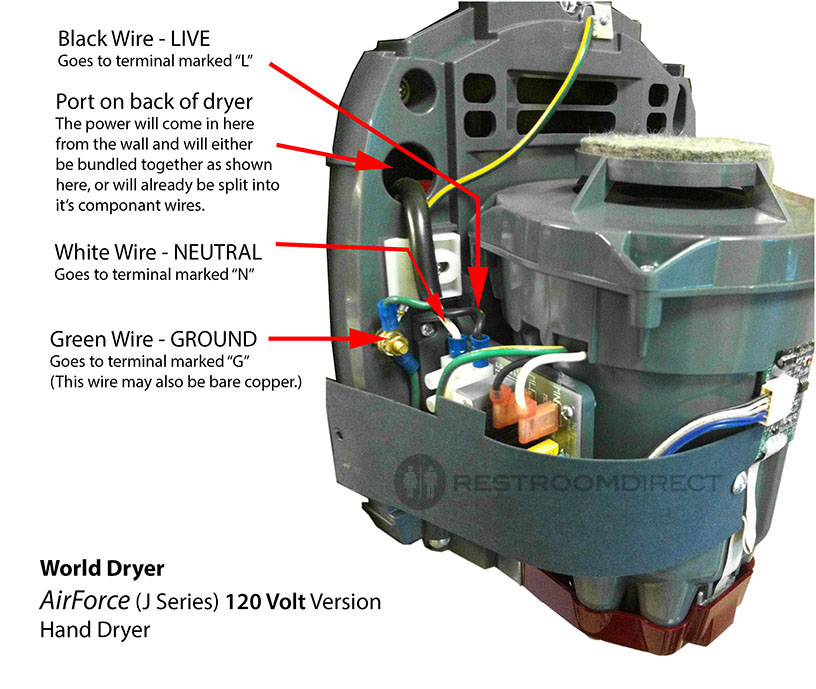 hand dryer wiring diagram hand image wiring diagram world dryer airforce high speed hand dryer on hand dryer wiring diagram