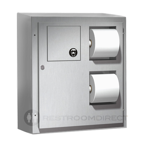 partition mounted two way stainless steel toilet tissue dispenser and sanitary napkin receptacle
