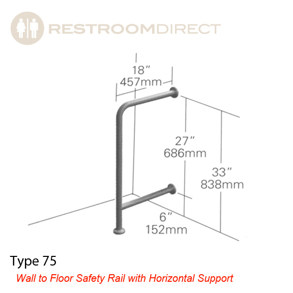 Asi Type 75 Stainess Steel Grab Bar Wall To Floor