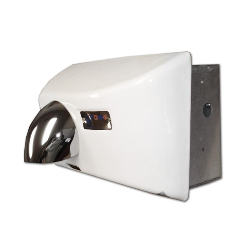 white cast iron commercial hand dryer with quiet induction motor