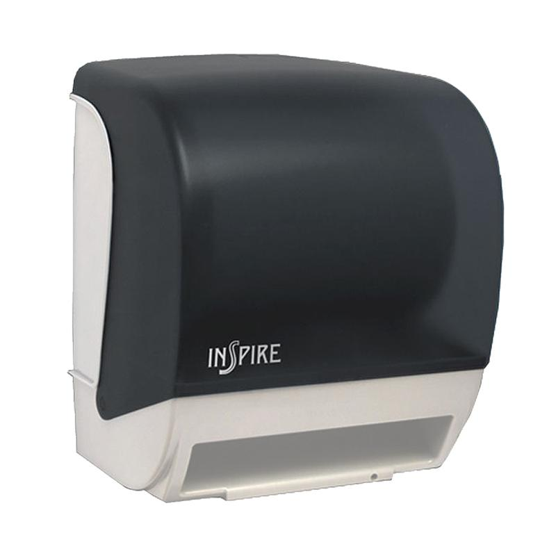 black translucent cover on whtie chassis - Paper Towel Dispenser