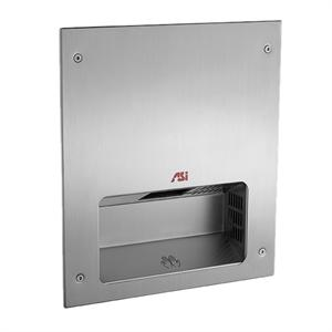 ASI Roval Fully Recessed, Satin Stainless Steel Hand Dryer (Model 0133). 10 yr warranty. Quiet operation. Seamless design.