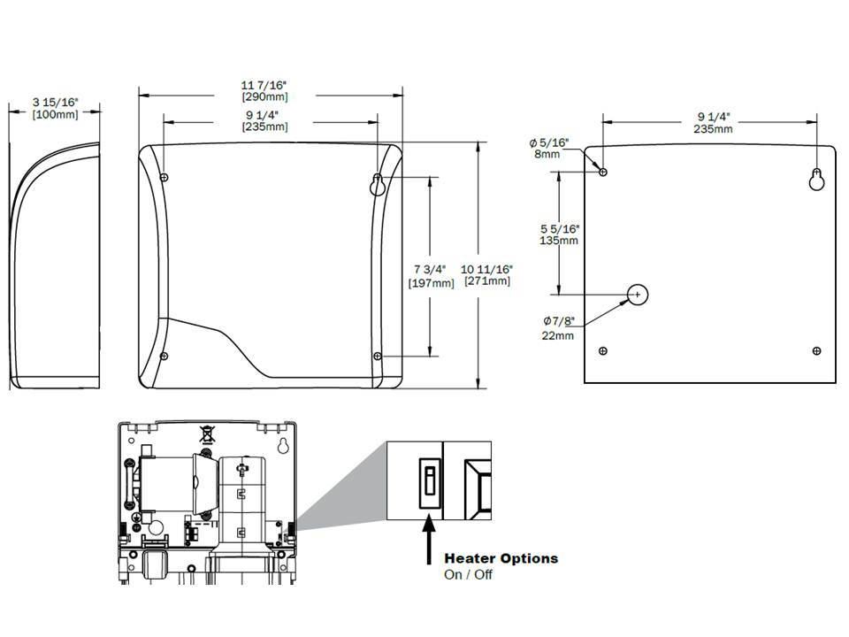 World Dryer Slimdri hand dryer mounting template dimensions