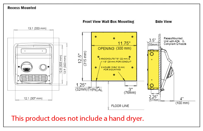Wallbox for world dryer recessed model a b and m dryers diagram world dryer replacement wall box ccuart Image collections