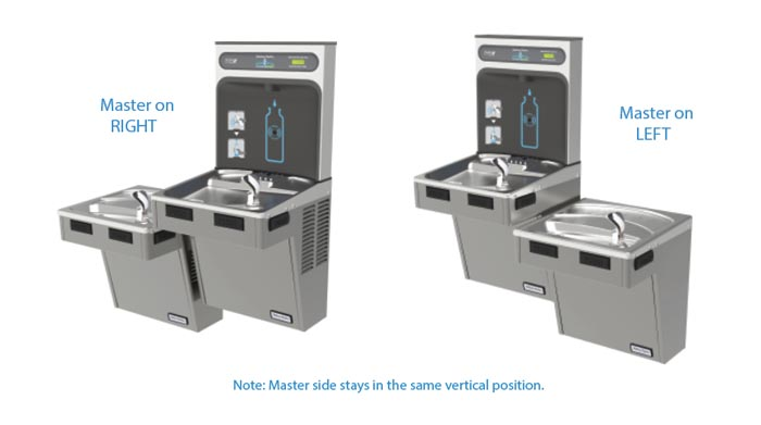 Diagram showing a reversible water fountain.