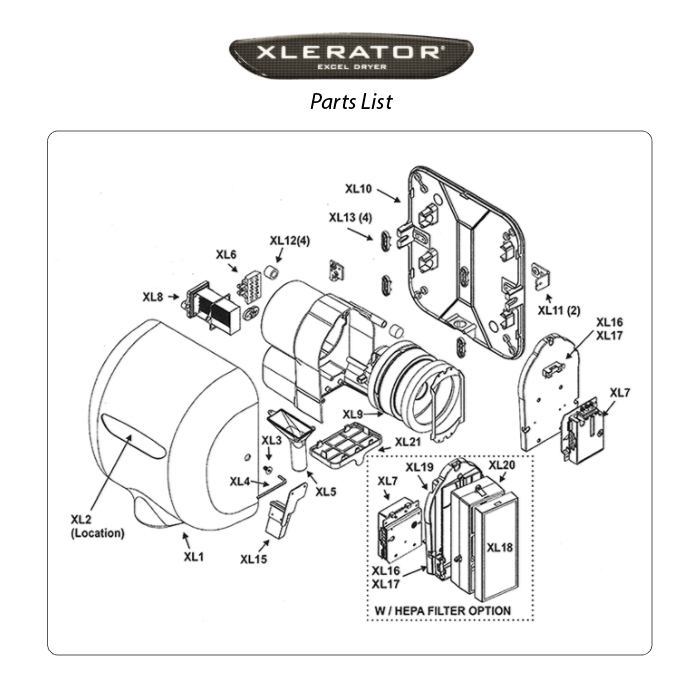 replacement parts for excel dryer xlerator and xleratoreco