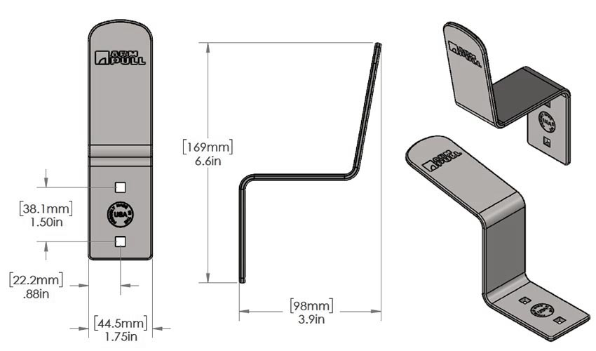 Measurement Diagram for AP02 (ArmPull Slim)