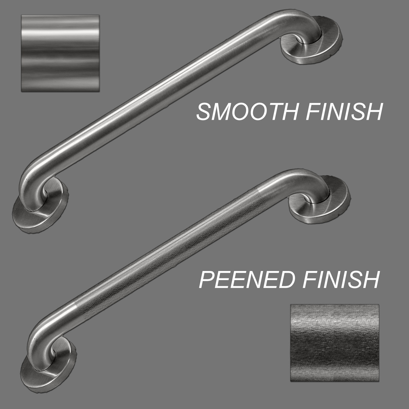 ASI Stainess Steel Corner Grab Bar with Middle Support