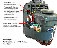 Wiring diagram for World Dryer Airforce (120V)