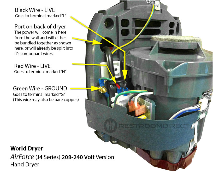wiring diagram for world dryer airforce (208-240v)