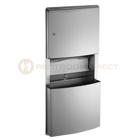 ASI 204623 Stainless Steel Recessed Paper Towel Dispenser And Waste Bin.