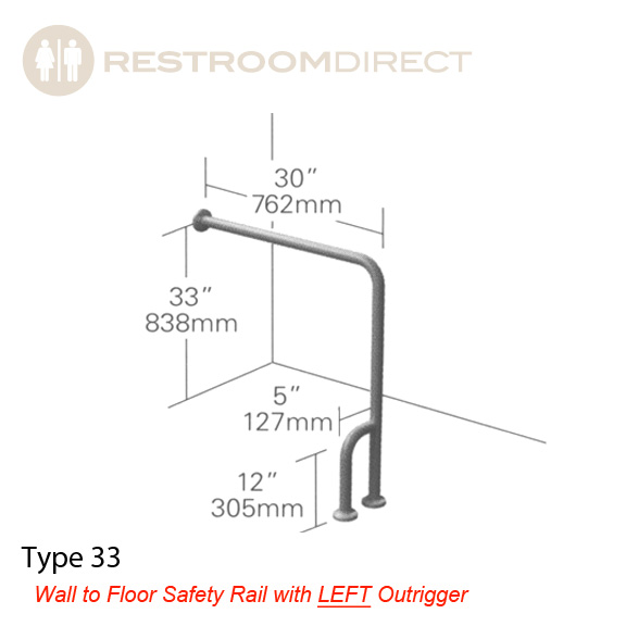 ASI Type 33 Stainess Steel Grab Bar, Wall to Floor with Left Outrigger