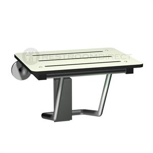 White plastic and stainless steel folding shower seat.