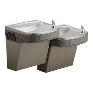 Elkay Two Level ADA Barrier Free Drinking Fountain. Available options for water filter, glass filler, and cabinet finish.