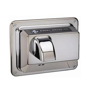 Excel recessed mount, automatic hand dryer with chrome cover.