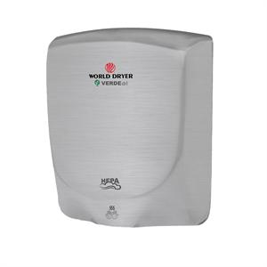Stainless Steel 110-240V Brushed World Dryer Q-973A VERDEdri Hi-Speed Surface-Mounted ADA Compliant Hand Dryer